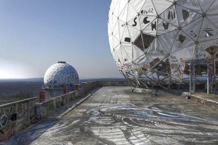 View from the abandoned monitoring station on the Teufelsberg with domes
