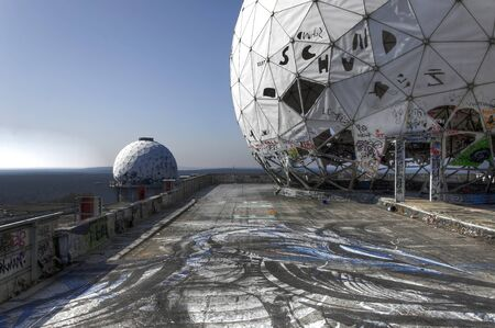 Looking through the dome of the abandoned monitoring station on the Teufelsberg