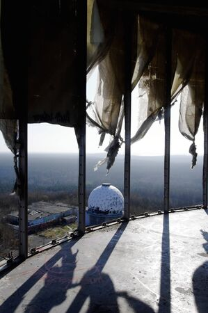 bugging: View from the tower of the old abandoned monitoring system on the Teufelsberg Stock Photo