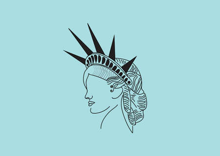 Statue of Liberty logo, illustration, cyan turquoise color, lines