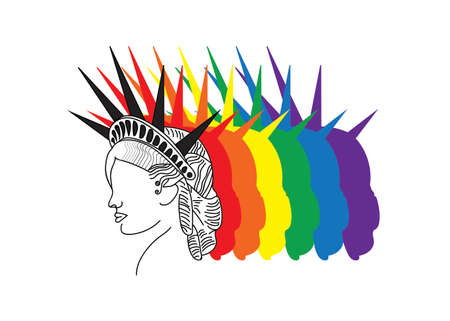 Statue of Liberty logo, illustration, LGBT normal colors