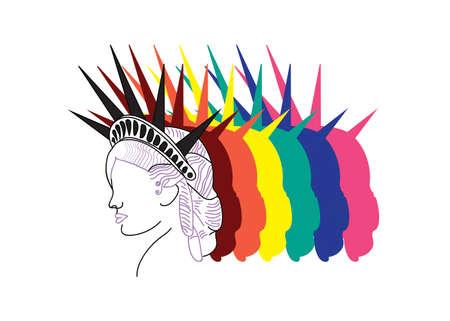 Statue of Liberty logo, illustration, LGBT changed colors 矢量图像