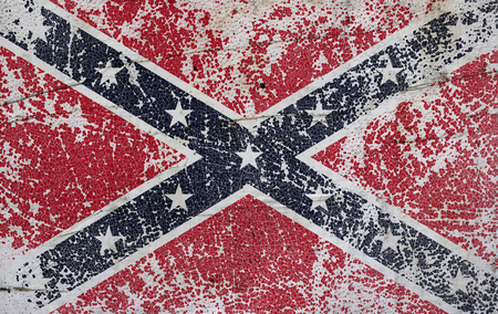 Grunge confederate flag on old paper background Stock Photo