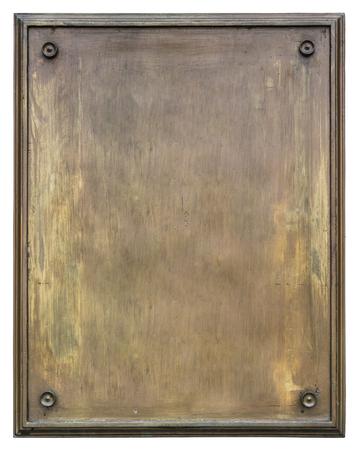 Placca di bronzo bianco isolato su bianco Archivio Fotografico - 85158728