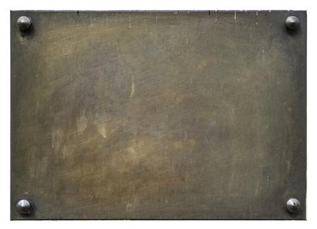 Brons lege die plaque op wit wordt geïsoleerd Stockfoto - 85158730
