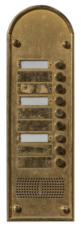 Old door intercom isolated on white background