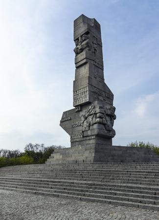 Westerplatte, Poland - April 27, 2019: Monument of the Coast Defenders on Westerplatte peninsula, where World War 2 started. Near Gdansk. Designed by Franciszek Duszenko i Henryk Kitowski