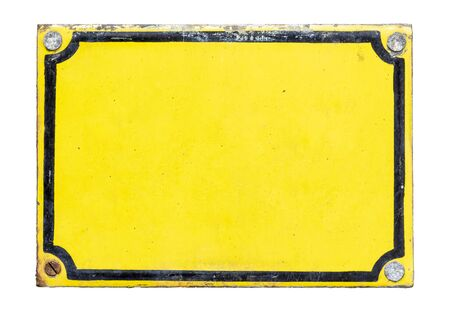 Old, metal, yellow plaque isolated on white background