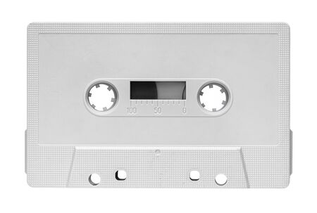 White audio cassette isolated on white background