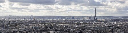 Panorama of Paris with visible Eiffel Tower
