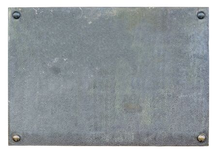 Blank, old, metal plaque isolated on white background 版權商用圖片 - 134333241
