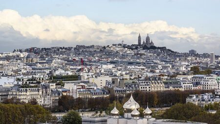 Aerial photo of Montmartre with Sacre Coeur Basilica against clouds 版權商用圖片