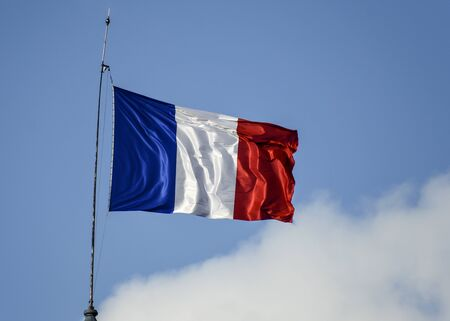Flag of France waiving against sky on windy day 版權商用圖片 - 136108494