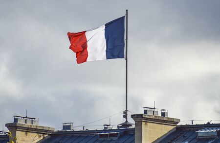 Flag of France waiving against sky on windy day 版權商用圖片 - 136108495