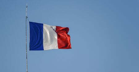 Flag of France waiving against sky on windy day 版權商用圖片 - 136106693