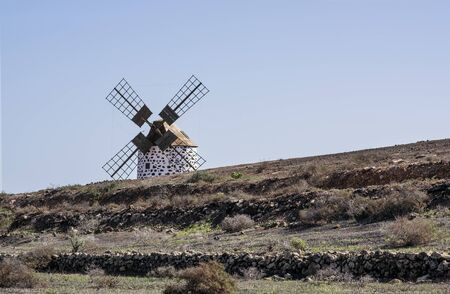 Traditional windmill on Fuerteventura Island, Canary Islands