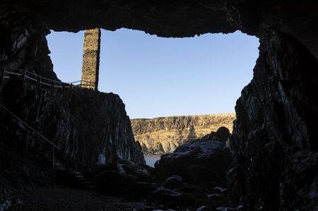 Entrance to the cave in Ajuy, Fuerteventura 版權商用圖片