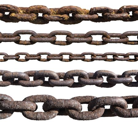 Set of old, rusty, extremely corroded chains isolated on white background