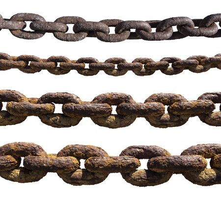 Set of old, rusty, extremely corroded chains isolated on white background 版權商用圖片 - 143392859