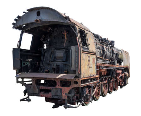 Old, rusty abandoned train. Corroded vintage locomotive