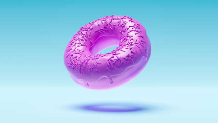 Purple donut hovering in space on blue background. 3d rendering