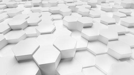 Abstract hexagonal background. 3d render of white hexagons