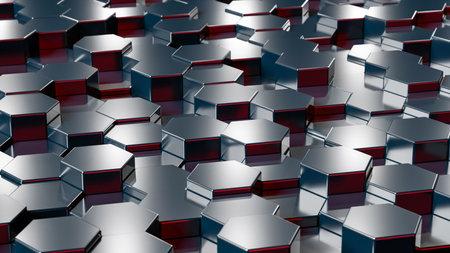 Abstract hexagonal background. 3d render of dark shiny hexagons 版權商用圖片