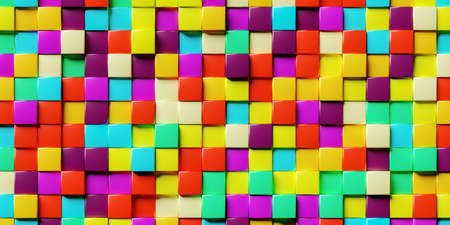 Abstract background made of stacked colorful cubes. 3d rendering