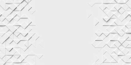 White abstract background with sides covered in triangles and copy space in the middle. 3d rendering