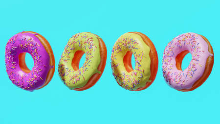 Four colorful donuts hovering against teal background. 3d rendering