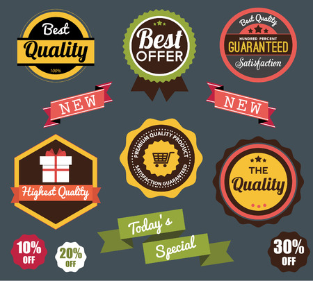 ribbons vector: Set of vector stickers and ribbons vector set Illustration