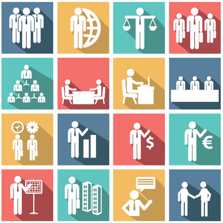 resources management: Human resources and management vector icons set.