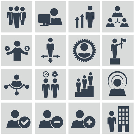 business group: Human resources and management vector icons set.
