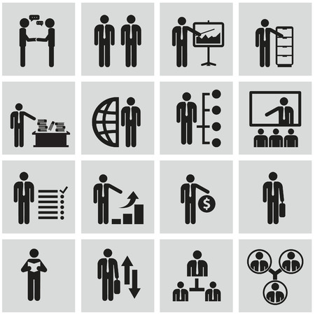 social gathering: Human resources and management vector icons set.