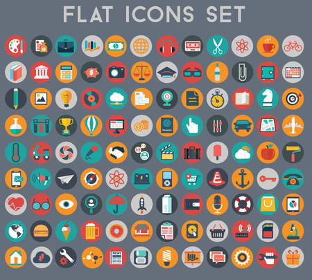Big set of flat vector icons with modern colors of travel, marketing, hipster ,science, education ,business ,money ,shopping, objects, food