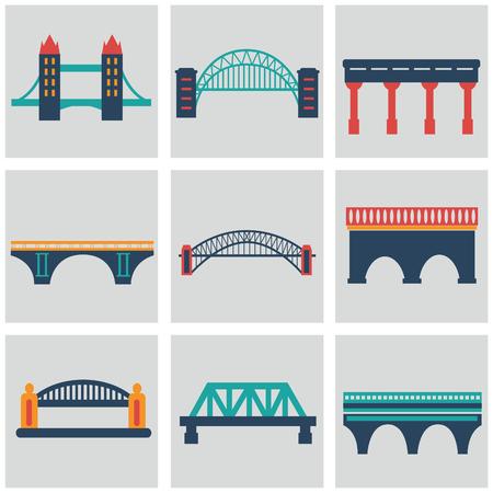 Vector isolVector geïsoleerde bruggen grote pictogrammen instellen ated bruggen grote pictogrammen instellen