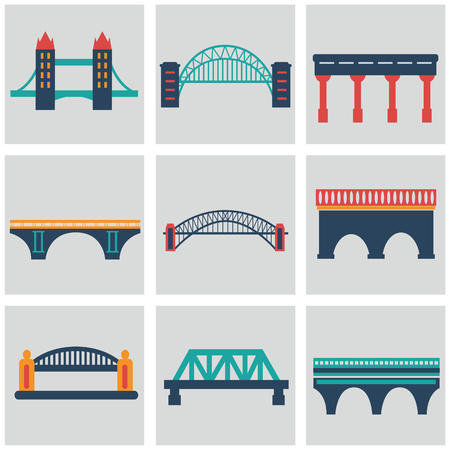 Vector isolVector isolated bridges big icons set ated bridges big icons set