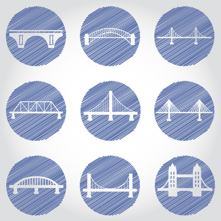 big icons: Vector isolVector isolated bridges big icons set ated bridges big icons set Illustration