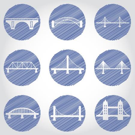 drawbridge: Vector isolVector isolated bridges big icons set ated bridges big icons set Illustration
