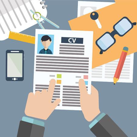 Ilustración vectorial concepto de gestión de recursos humanos, la búsqueda de personal profesional, trabajo head hunter, tema del empleo y el análisis de resume.infographics personal Foto de archivo - 36572957