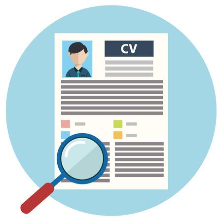 인적 자원 관리 벡터 일러스트 레이 션의 개념, 인사 resume.infographics을 전문 직원, 헤드 헌터 직업, 고용 문제를 발견하고 분석