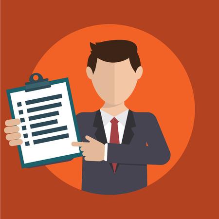 analytic: Hombre de negocios con una tarea, mostrando tarea y anal�tica, dise�o plano moderno