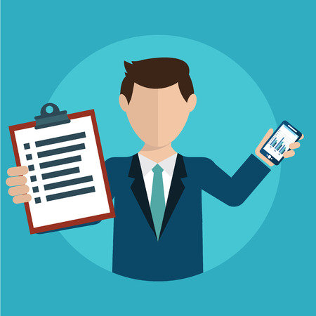 tasks: Businessman with a task, showing task and analytic, flat modern design