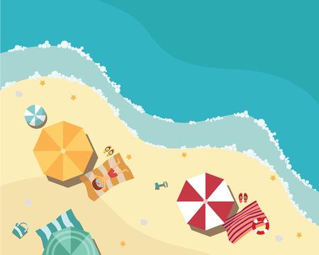 フラットなデザイン、空撮、海側やパラソル、ベクトル図で夏のビーチ