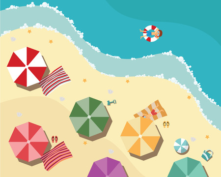 view on sea: Summer beach in flat design, aerial view, sea side and umbrellas, vector illustration Illustration