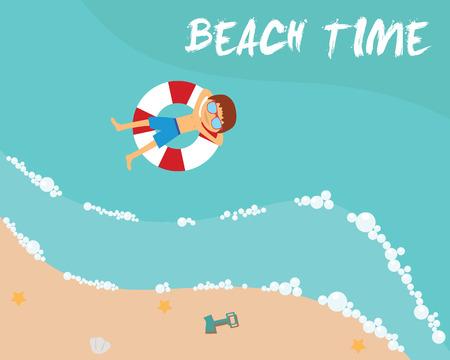 sea side: Summer beach in flat design, aerial view, sea side and umbrellas, vector illustration Illustration