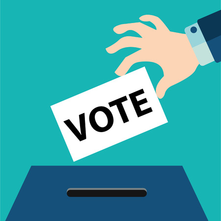 slot in: Vote ballot with box. hand holding paper ,Vector illustration.