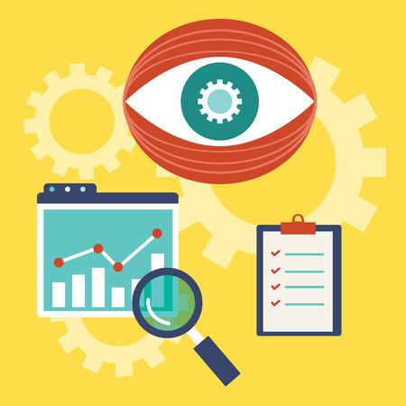 Vector illustration of web analytics information and development website statistic - vector illustration Vector