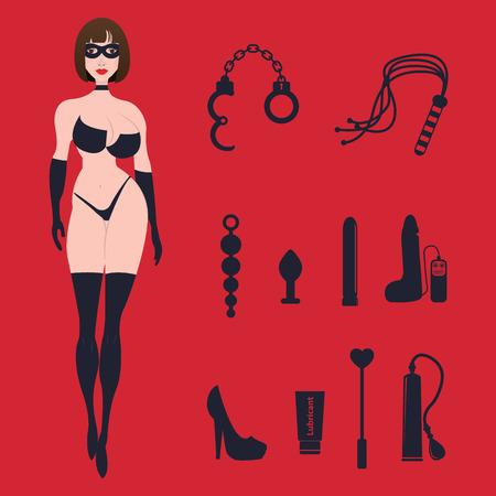 educacion sexual: BDSM mujer atractiva del fetiche en ropa interior con los juguetes sexuales.