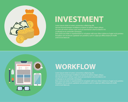strategic management: Flat design concepts for business, finance, strategic management, investment, workflow, consulting, teamwork, great idea. Concepts for web banners and promotional materials Illustration